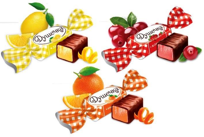 Конфеты Душечка Ассорти (клюква, лимон, апельсин)